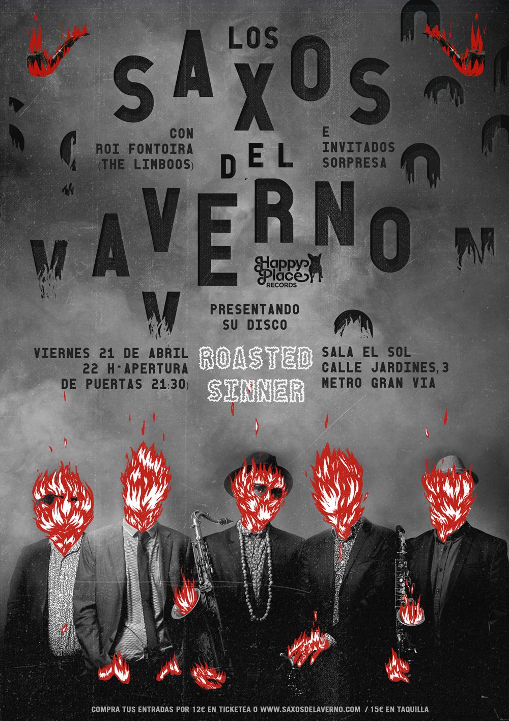Los Saxos del Averno presentan su nuevo disco en la sala El Sol el 21 de abril. Entradas ya a la venta: https://www.ticketea.com/entradas-concierto-presentacion-disco-los-saxos-del-averno/